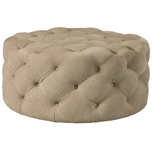 Round Button Tufted Cocktail Ottoman with Casters in Dudley Burlap- DS-D108003-537