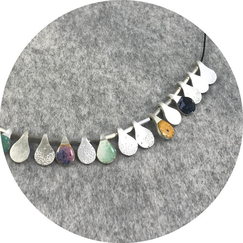 Danielle Lo- Tassle Necklace, 999 silver, 925 silver, enamel & silk cord.