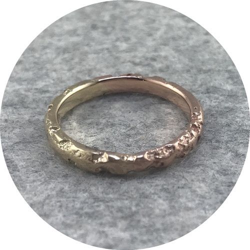 Albert Tse - 'Crater' 3mm Fused 9ct Rose Gold and Yellow Gold Ring