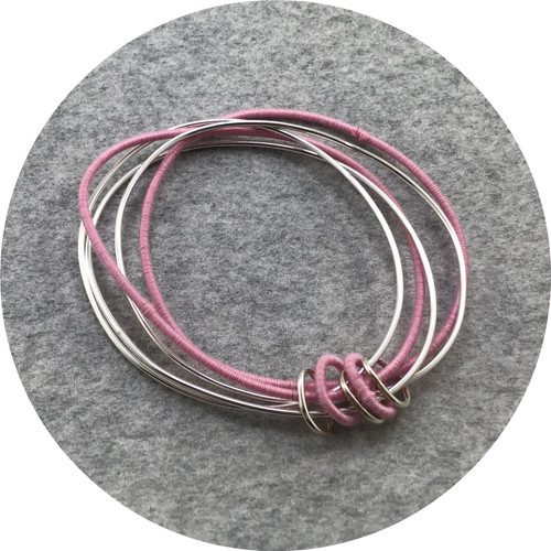 Melissa Gillespie - 'Wrapped Pink Silver Bangle', sterling silver, cotton