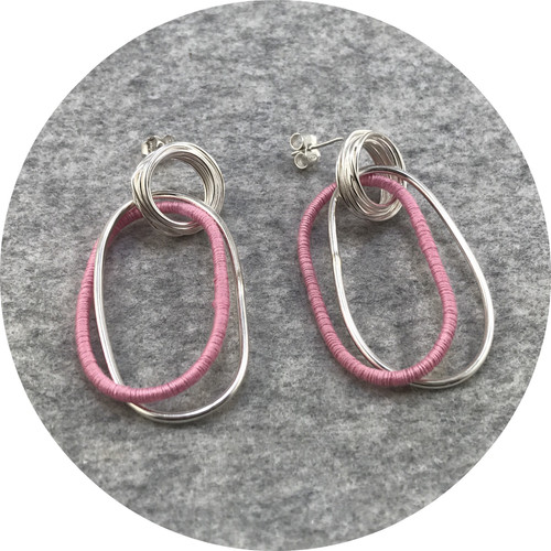 Melissa Gillespie - 'Wrapped Dangle Earrings', sterling silver, cotton