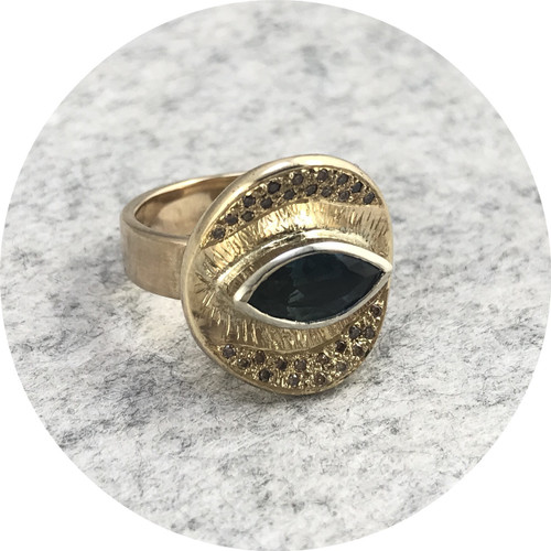 Ellinor Mazza - 'Marquise Halo Ring' 9ct yellow and white gold,  Australian teal QLD sapphire and champagne diamond
