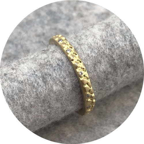 Georgie Brooks- Textura Hannah Ring. 18ct yellow gold with 10x 1mm white diamonds. size K.
