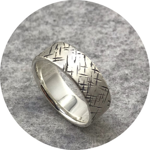 Amelie Atelier - 'Tactility Crosshatch Ring' 925 silver K.5