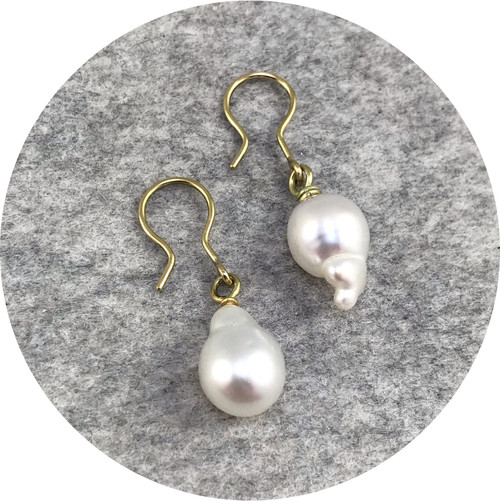 Laura Eyles- South Sea Baroque Pearl earrings. 18ct yellow gold.
