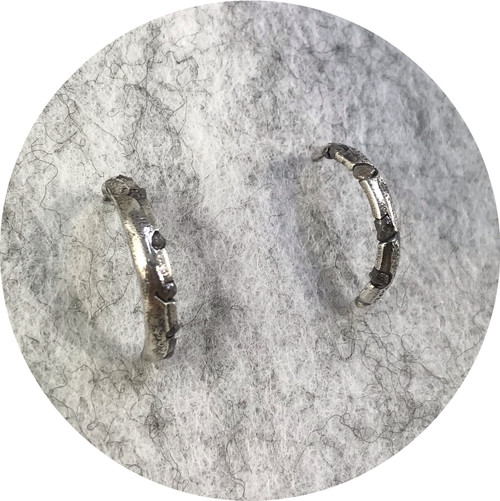 Kirra-Lea Caynes - 'Rough Diamond Stud Half Hoop Earrings', 925 silver, diamond