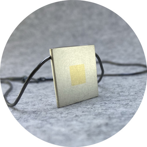 Melanie Ihnen - 'Large Married Metal Squares Necklace', 925 silver 14ct yellow gold