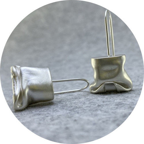 Robyn Clarke - 'Crushed Silver Hook Earrings', fine silver, 925 silver