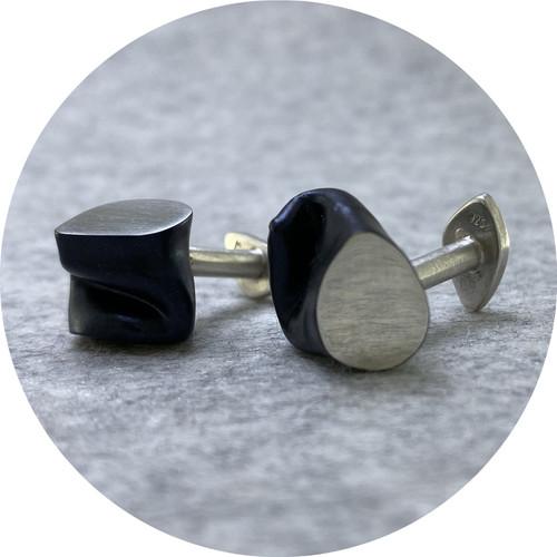 Robyn Clarke - 'Crushed Cufflinks Blue/Black with Silver Plane', powder coated copper, 925 silver