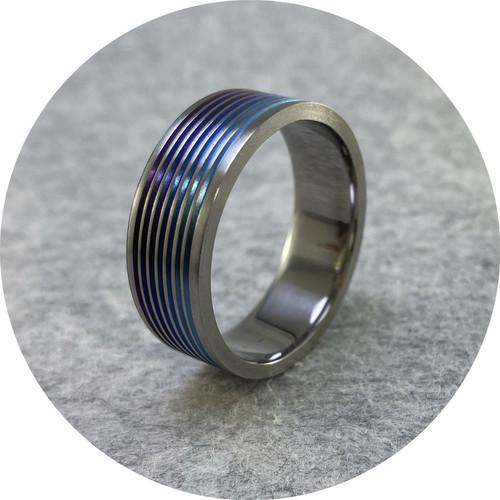Brendan Cunningham - 'Titanium Banded Purple-Blue Ring', titanium 4.5