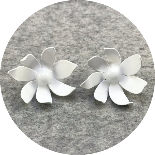 Rebecca Hinwood - 'Small Flannel Flower Studs',  brass, sterling silver, paint