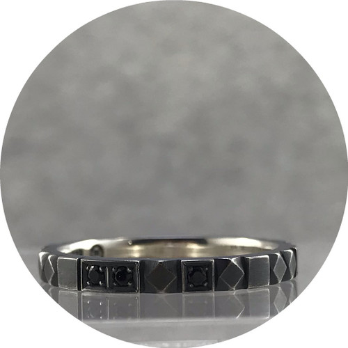 Eli Speaks - 'Mosaico' Ring in Oxidised Sterling Silver with 7 Black Spinels