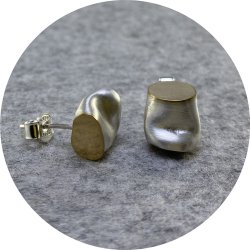 Robyn Clarke - 'Crushed Fine Silver and Gold Studs', fine silver, 9ct yellow gold, 925 silver