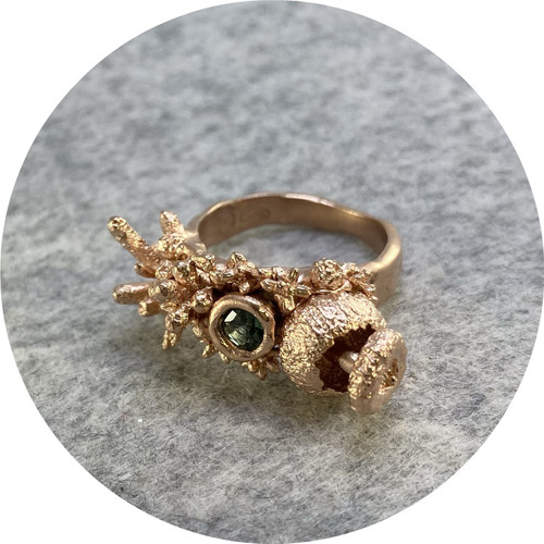 Manuela Igreja- Enchanted Forrest ring. Rose Gold plated sterling silver. Set with one Round parti sapphire from QLD. Size L.