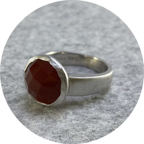 Orion Joel- 'Botanica' 12mm rose cut red carnelian