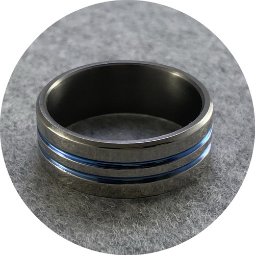 Brendan Cunningham - 'Polished Titanium Anodised Blue Ring' X.5