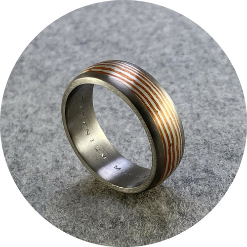 Brendan Cunningham - 'Mokume Copper and Silver Titanium Ring' Y