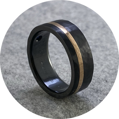 Brendan Cunningham - 'Star Set Sapphire Zirconium Band Rose Gold Inlay' V.75