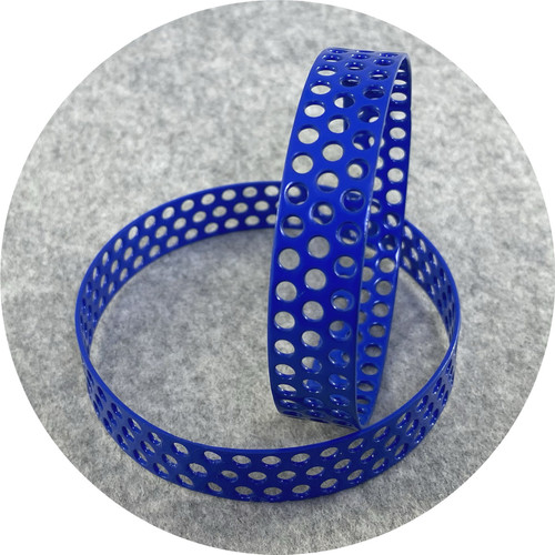 Jin Ah Jo- Blue perforated bangle. Powder coated mild steel.