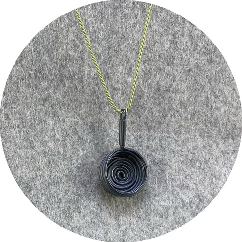 Melissa Gillespie - 'Miniature Oxidized Frying Pan Necklace' in Sterling Silver and Green Silk