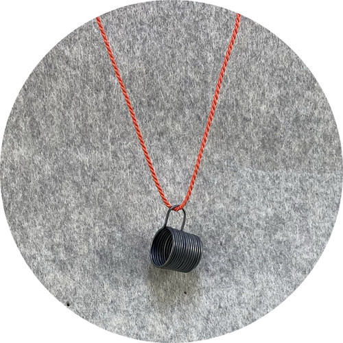 Melissa Gillespie - 'Miniature Oxidized Coffee Cup Necklace' in Sterling Silver and Orange Silk