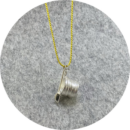 Melissa Gillespie - 'Miniature Stove Pot and Spoon Pendant' in Sterling Silver and Yellow Silk