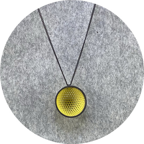 Jin Ah Jo - Yellow Perforated Cup with Black Rim Pendant in Midsteel, Silver and a 60cm Sterling Silver Curb Chain