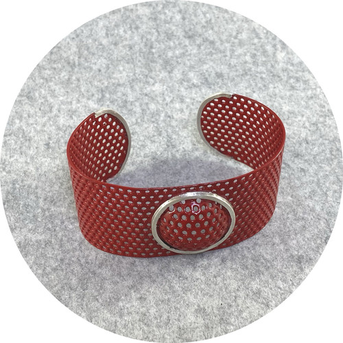 Jin Ah Jo - Red Perforated Cuff with Silver Cup on top with Curb Line in Midsteel