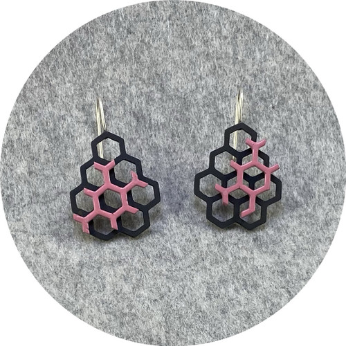 Jin Ah Jo  - Black and Pink Hexagon Hook Earrings in Mildsteel and Silver