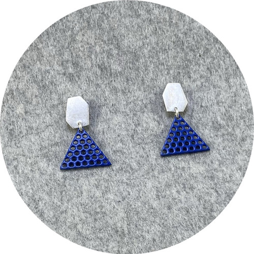 Jin Ah Jo - Blue Perforated Mildsteel with Silver Out of Shape Hexagon Stud Earrings