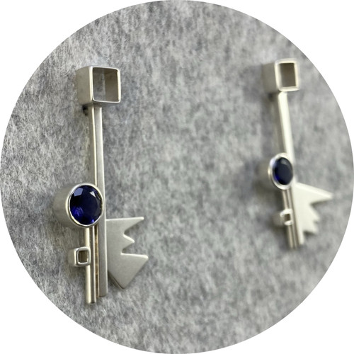 Danielle Barrie - 'Mircobuggy Cosmic Hanging Studs' made with Sterling Silver set with Blue Iolite