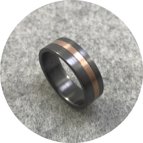 Brendan Cunningham - Tantalum and 9ct Rose Gold Flat 7mm Wide Band