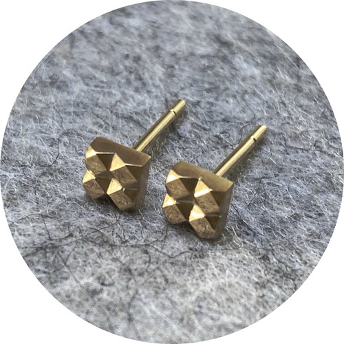 Eli Speaks - 'Mexicali Ladrillo Studs',  9ct yellow gold