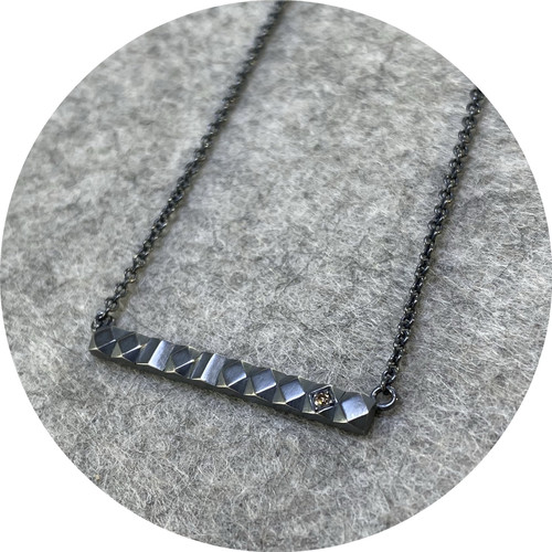 Eli Speaks- Mexicali Barra necklace in oxidised sterling silver, with one Argyle Champagne diamond on adjustable chain.