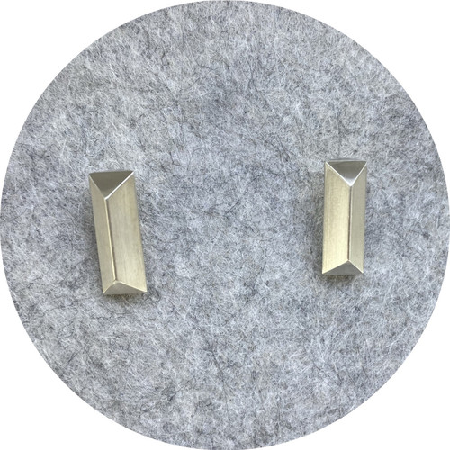 Robyn Clarke- Solid sterling silver geometric rod studs with 9ct yellow gold posts and butterfly backings.
