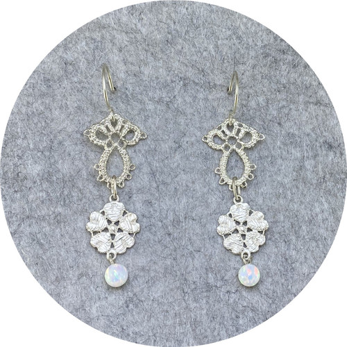 Pamela Camille- Tatted small Derry lace- Large Derry rose with synthetic opal bead. Sterling silver.