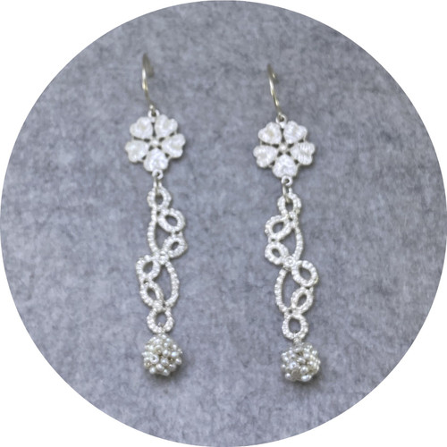 Pamela Camille- Large derry Rose. Tatted leaf and stem with seed pearl cluster bead. Drop earrings in sterling silver.