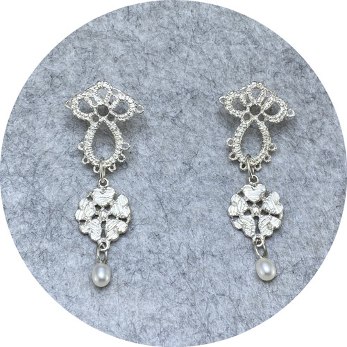 Pamela Camille- Small Derry Lace- rose with small teardrop pearl. sterling silver.