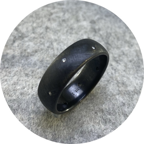 Brendan Cunningham - 'Brushed Zirconium Band with Scattered Diamonds', zirconium, diamond T.25