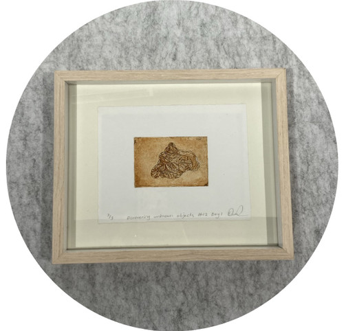 Elaine Camlin- Discovering unknown objects series, etching and aquatinted BFK Rives. Framed.
