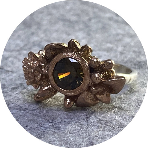 Manuela Igreja- Woodland ring. 6mm zircon. sterling silver, rose gold plated. size L.