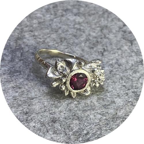 Manuela Igreja- Woodland ring. 6mm Australian tourmaline. sterling silver. size M