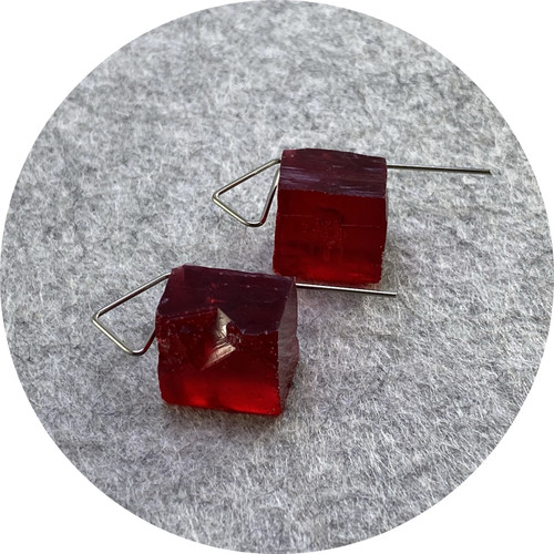 Simon Williams - 'Mineralist 'Cubist' Earrings', resin, stainless steel