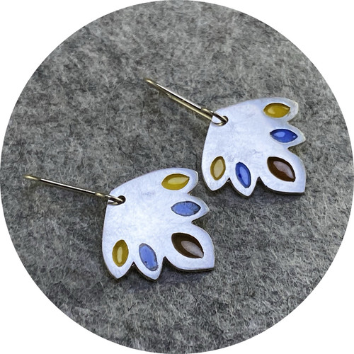 Claire Taylor - Indian Leaf Sterling Silver and Enamel Earrings