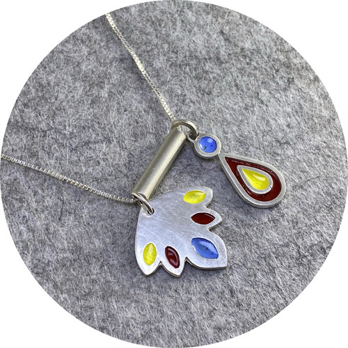 Claire Taylor - 2 Charm Sterling Silver and Enamel Pendant