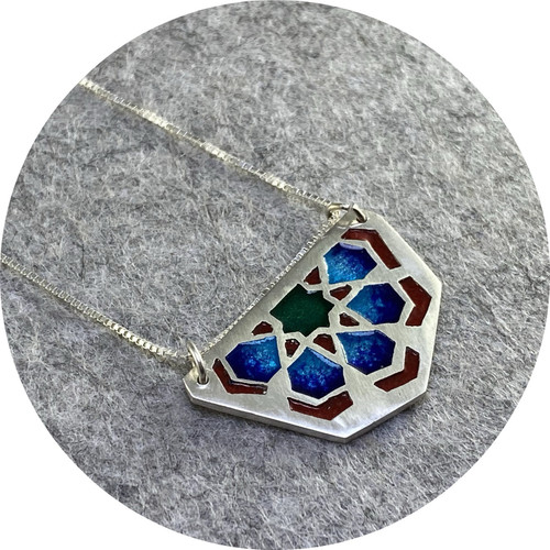 Claire Taylor - Sterling Silver and Enamel Islamic Motif Pendant