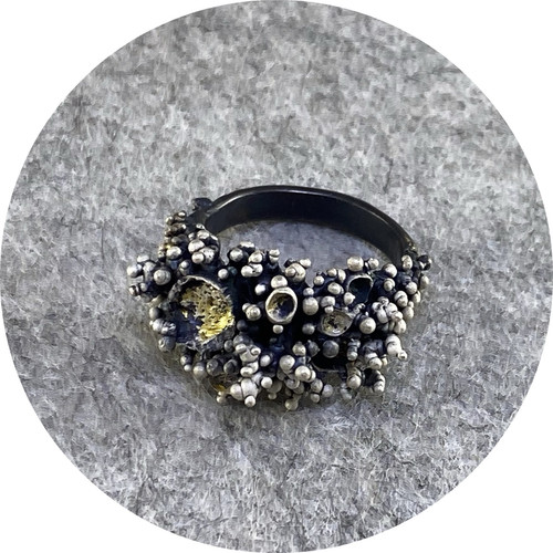 Virginia Sprague- 'Remnant Series' Ring II in  Oxidised Sterling Silver and  22 ct Gold