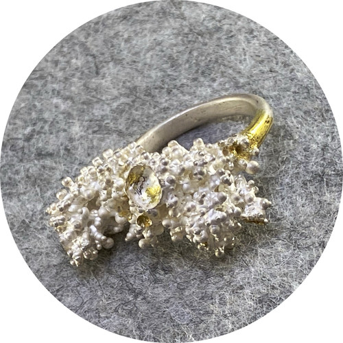 Virginia Sprague- 'Remnant Series' Ring I in Sterling Silver with 22 ct  Gold s