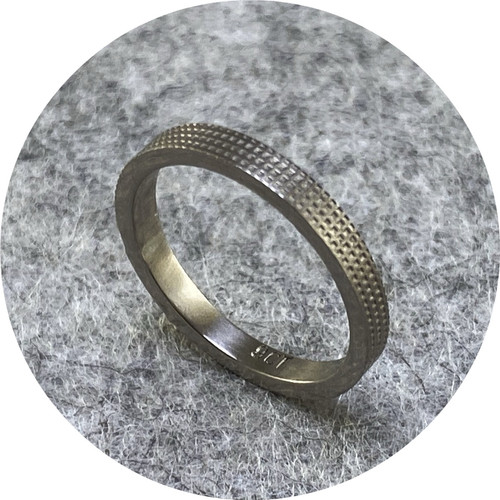 Melanie Ihnen - 9ct white gold textured ring. Size H 1/2.