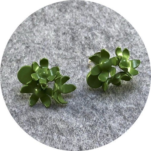 Rebecca Hinwood - Green Flower Cluster and Petal Studs